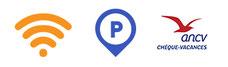 Accès internet gratuit, parking privé, chèques vacances acceptés, accessible aux handicapés