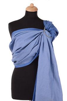 Sling Babytrage von Huckepack, einfarbig blau, doubleface Webung.