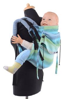 Onbuhimo Babytrage, gefertigt aus Girasol Tragetuch.