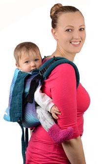 Onbuhimo Kindertrage, geeignet ab Sitzalter, Tragen während der Schwangerschaft.