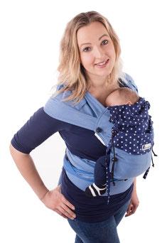 Wrap Tai Babytrage von Huckepack, auffächerbare Träger aus Tragetuchstoff, Hüftgurt mit Schnalle.