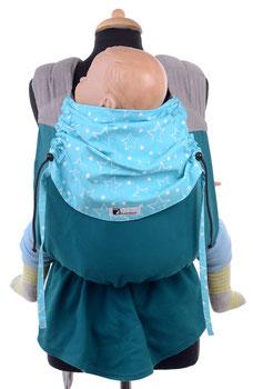 Podaegi Babytrage, mitwachsend ab Geburt bis ins Kindesalter.