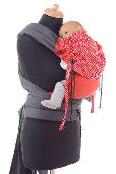 Mei Tai Babytrage für Negeborene, stufenlos mitwachendes Rückenpanel.