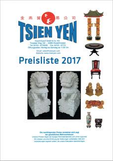 Katalog mit asiatischer Einrichtung und Dekorationen mit Chinadach, Löwen, runden Tischen, Buddhas und vieles mehr.