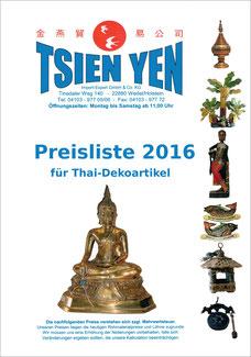 Katalog mit thailändischen Dekorationsartikeln wie z. B. Holzelementen, Thai Schnitzereien, Messingfiguren, Lampen und vieles mehr.