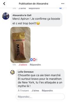 Test coureur marathon stick miel APIRUN