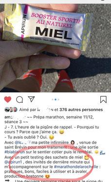 Retour test gel énergétique miel breton APIRUN