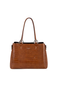 Sac à main aspect croco David Jones cognac CM5896