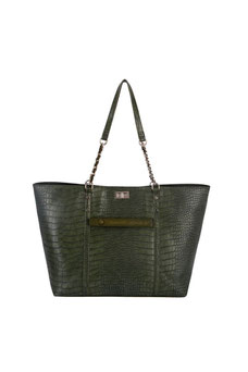 Sac shopping aspect croco David Jones vert olive CM5859A