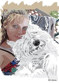 disegno-drawing-bobtail-cane-dog-digital-art-portrait-selfie-bobtail-cane-in-braccio