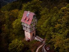 Thüringen Wald Haus im Wlad drone droneshot