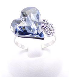 bague ajustable femme swarovski cristal bleu