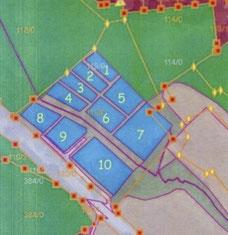 Plan mit Lage der 10 Teiche