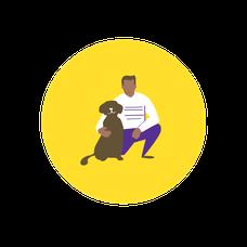 icone femme et chien