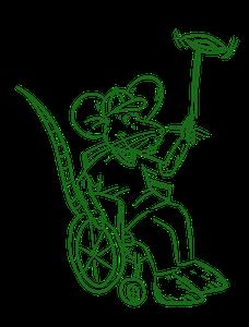 Eine gemalte Buntmaus dreht einen Jonglierteller auf und sitzt dabei in einem Rollstuhl