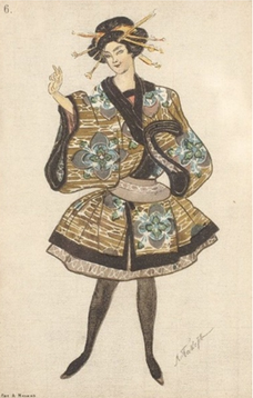 「人形の精」衣装デザイン(1903年、レオン・バクスト画)兵庫県立芸術文化センター、薄井憲二バレエ・コレクション