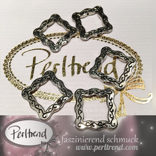 www.perltrend.com Perlen silberfarben Rahmen verziert antik silber ornament Muster Schmuck Verarbeitung basteln Luzern Perltrend Schweiz Online Shop