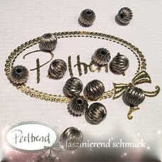 www.perltrend.com Perlen Silberfarben Rillen Rillenperlen silber