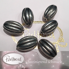 www.perltrend.com Perlen Silberfarben diverse Formen oval lang olive silber rillen
