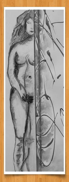 Versuchung 25 cm x 55cm Bleistift/Kohle/Aquarell auf Leinentuch -verkauft-