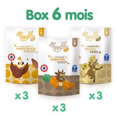 Box de 9 repas halal et bio pour bébés à partir de 6 mois à la viande de veau, de poulet et de bœuf