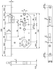 Einsteckschloss MSL Casa Beta 1123 Rundstulp