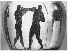 Boxe adultes. Amph. pan., IVe siècle. Londres BM B607 ; BENTZ,pl. 119-120 4.086.