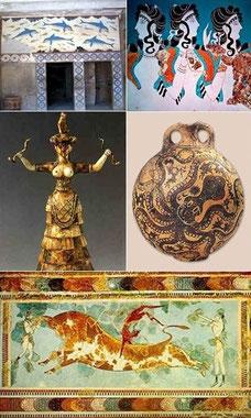 En la cultura cretense preindoeuropea la dimensión sagrada femenina es palpable en todo su arte colorido y naturalista.