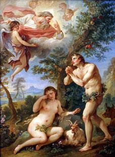 Adan y Eva recibiendo la maldición de Yahvé que los expulsó del paraiso.