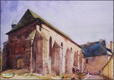 Gabriel Brun - aquarelle de Montsalvy - Réfectoire des moines.