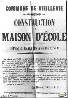 Affiche pour la construction de l'école de Vieillevie - 1877 - Coll. Archives départementales du Cantal.