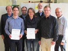Vorn die glücklichen Gewinner Marco Amherd und Judith Moor neben dem Juryvorsitzenden Prof. Jörg-Peter Weigle (Hochschule für Musik Hanns Eisler Berlin)