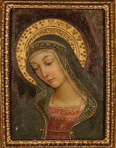 Bernardino di Betto, detto Pintoricchio (Perugia c. 1454 – Siena 1513) Madonna, frammento della distrutta Investitura divina di Alessandro VI, c. 1492-1493 - dipinto murario entro cornice seicentesca, cm 39,5 x 28, 5 x 5 - Collezione privata