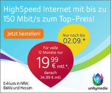 Highspeed Internetanschluss von Unitymedia