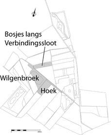 Wilgenbroek, Hoek en bosjes langs de Verbindingssloot.