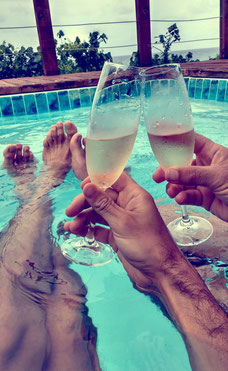 Champagne in our private plunge pool at White Pearl Resorts, Mozambique. Dante Harker