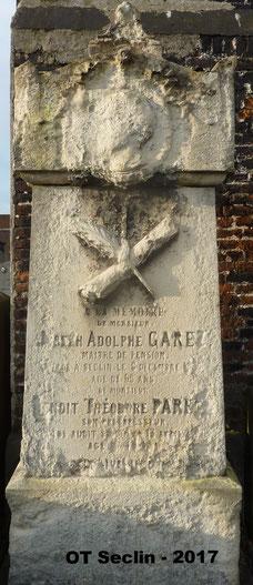 Sépulture Parent / Garez - cimetière de Seclin Centre