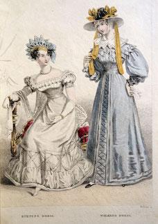 Belle Assemblée, London, c. 1825, Evening Dress and Walking Dress. picture taken by Nina Möller
