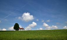 Die Kapelle von Hergersweiler auf grüner Wiese und Blauem Himmel
