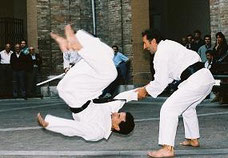 Wrist lock ending in a throw at the Yoshitaka street demonstration of Karate.