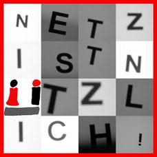 Netz ist nÜtzlich! zeigt dieses quadratische, rot gerahmte Bild aus einzelnen Buchstaben in verschiedenen Grautönen und dem Ü-Logo.