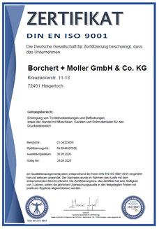 Zertifikat, Zertifizierung nach DIN EN ISO 9001