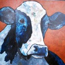 Schilderij Koe - B. de Jong