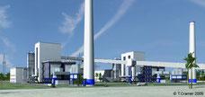 Kraftwerk, Energierückgewinnung, Recycling-Anlage, 3D Visualisierung