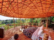 Schitterend uitzicht vanuit Bambu Indah hotel in Ubud