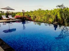 Prachtige zwembad van het Shanti Sambangan hotel