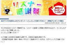 ラジオ懸賞-ラジオ日経-感謝プレゼント