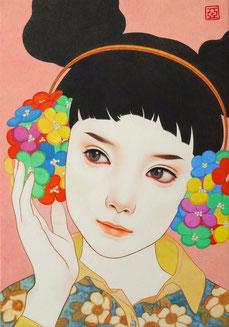「春風」 雲肌麻紙に岩絵具、水干絵具、墨、顔彩 P3