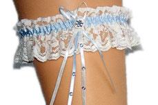 weiss-blaues classisches Strumpfband mit langer Schleife und Verzierungen