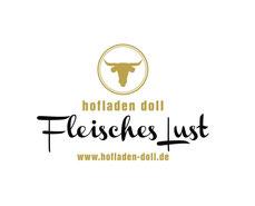 Logo mit Rinderkopf und Schriftzug Hofladen Doll, FleischesLust